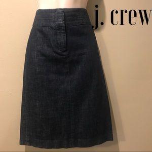 J. Crew Stretch Denim Pencil Skirt, size 2